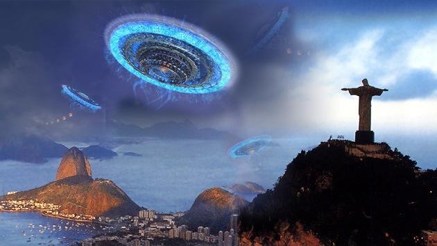 Künstlerliche Darstellung: UFOs über Rio de Janeiro